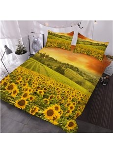 Fields of Yellow Sunflowers 3D Printed 3-Piece Polyester Comforter Sets