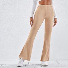 Pantalones tejidos de canale de pierna amplia