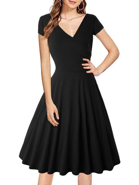 Milanoo Retro Dress 1950s Burgundy Woman\s Short Sleeves V Neck Rockabilly Dress