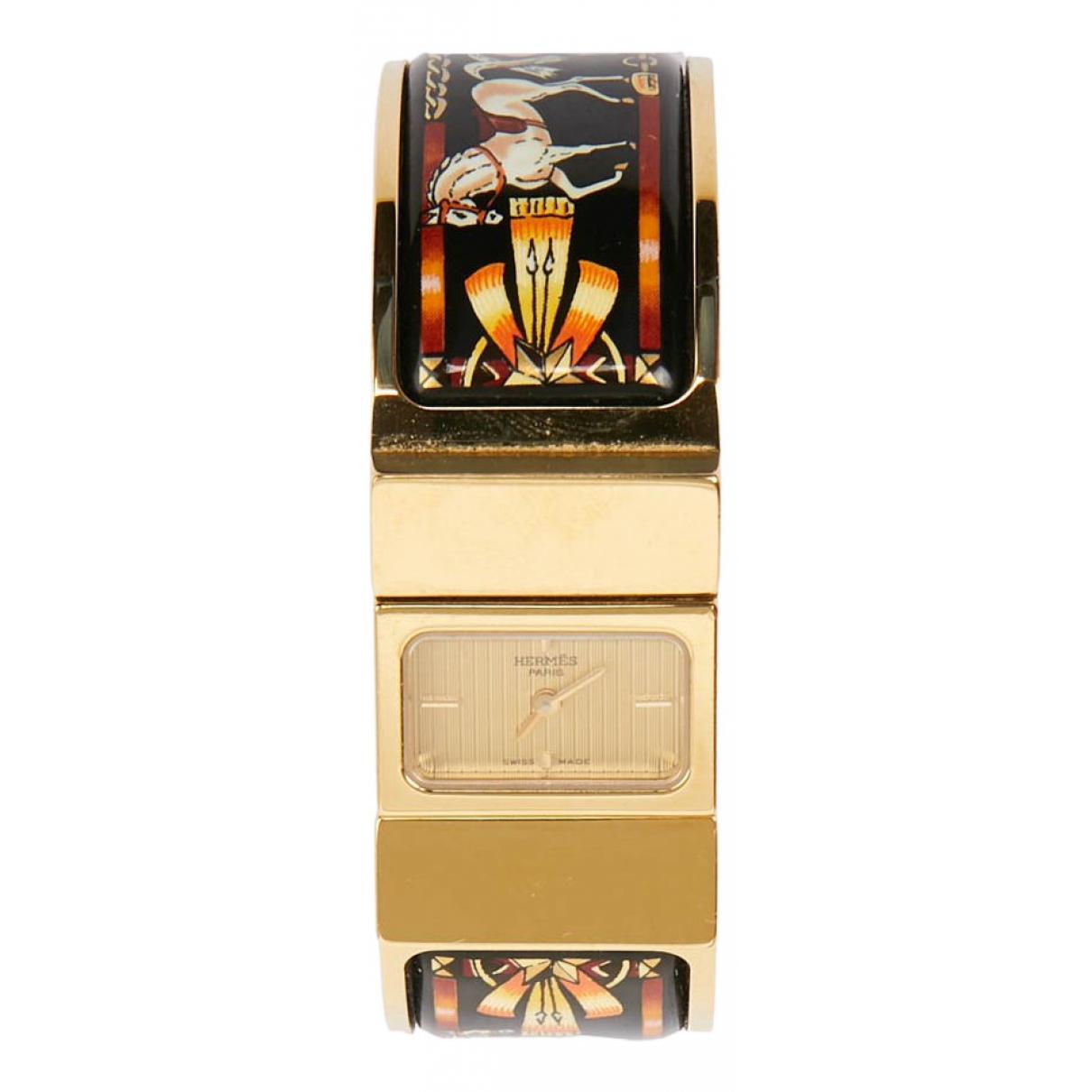 Hermes Loquet Uhr in  Schwarz Vergoldet