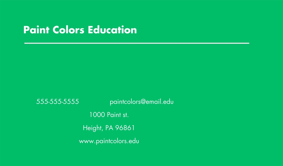 Education Business Cards, Set of 40, Silk, Card & Stationery -Paint Colors