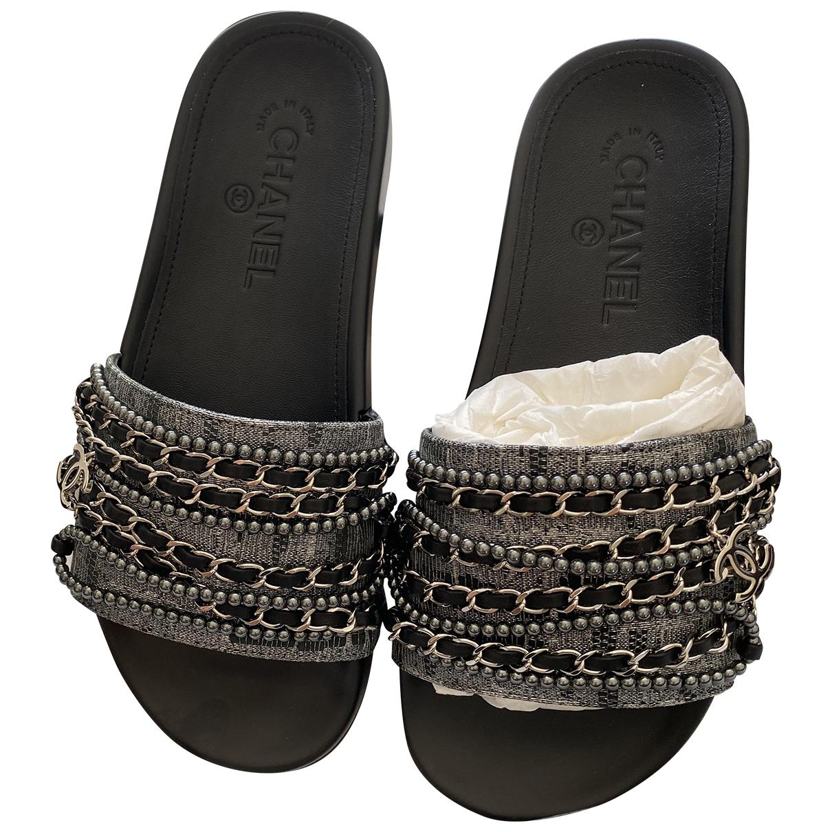 Chanel - Sandales   pour femme en toile - argente