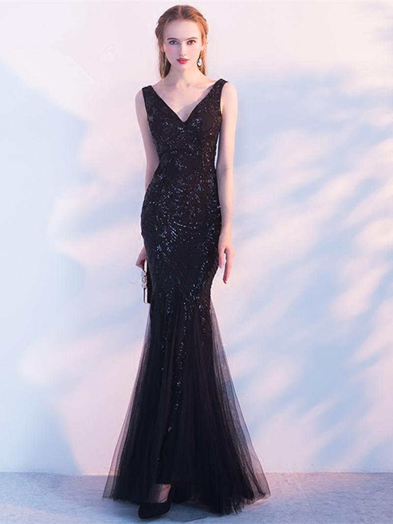 Ericdress Sheath Mermaid Sequin Black Evening Dress