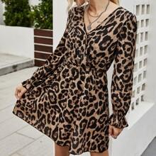Flounce Sleeve Allover Print A-line Dress