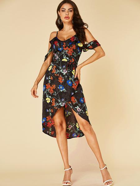 YOINS Black Knotted Design Floral Print Cold Shoulder Dress