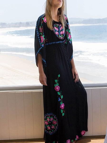 Milanoo Boho Dress Embroidered V Neck Long Sleeves Beach Dress