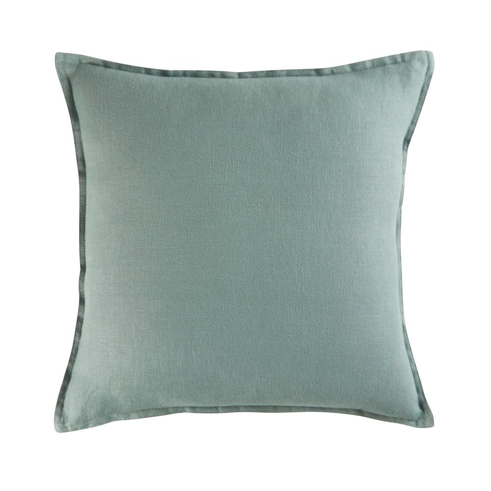 Kissen aus gewaschenem Leinen, gruenspanfarben, 45x45