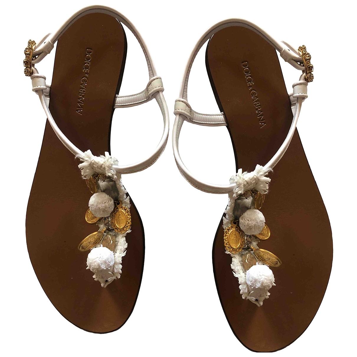 Dolce & Gabbana - Sandales   pour femme en cuir - blanc