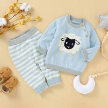 Toddler Boys Cartoon Graphic Sweater & Striped Pants