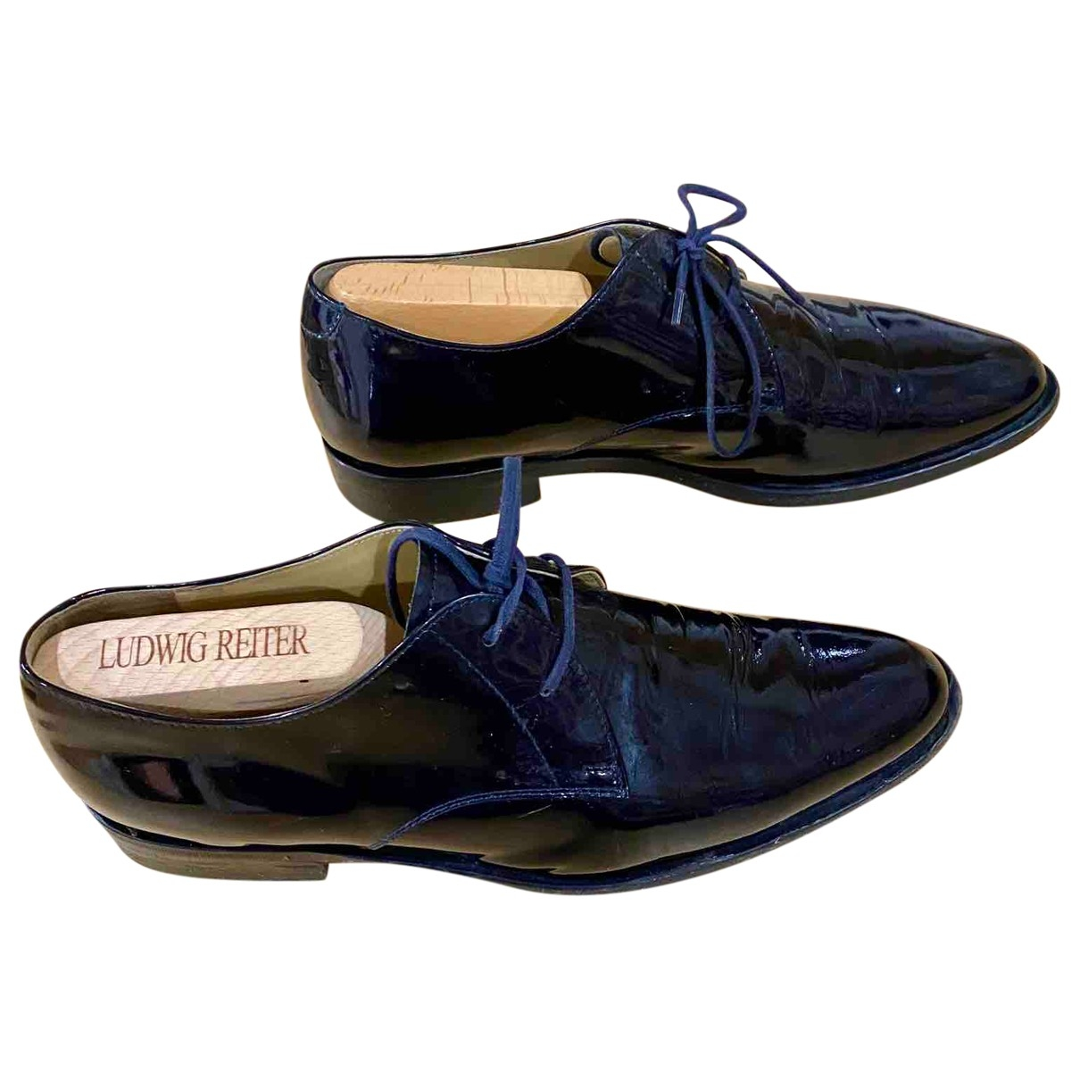 Helmut Lang \N Navy Patent leather Lace ups for Men 8 UK