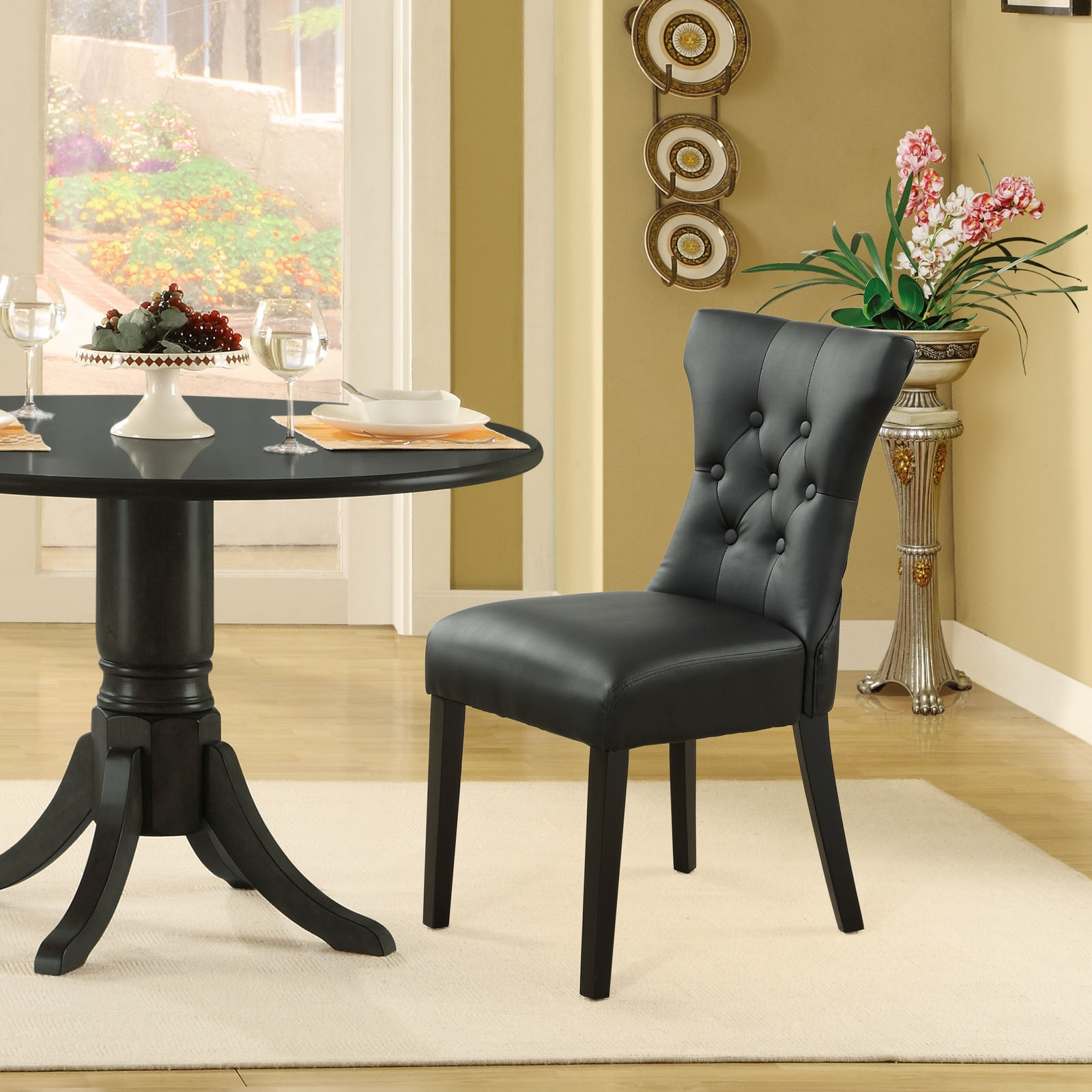 Silhouette Dining Vinyl Side Chair in Black