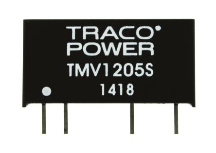 TRACOPOWER TMV 1W Isolated DC-DC Converter Through Hole, Voltage in 10.8 → 13.2 V dc, Voltage out 5V dc