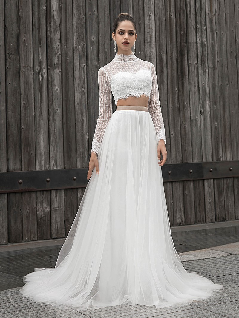 Ericdress High Neck A-Line Lace Long Sleeves Wedding Dress 2020