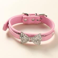 1 pieza collar para perro con lazo con diamante de imitacion