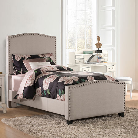 Kirstein Nailhead Detail Bed, One Size , Gray