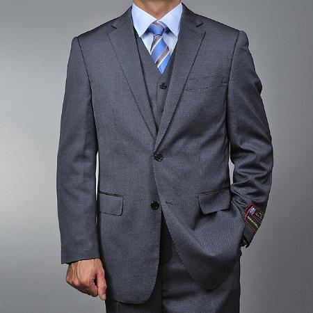 Mens Elegant 2 Button Vested 3 Piece Suit Grey Teakweave Pattern