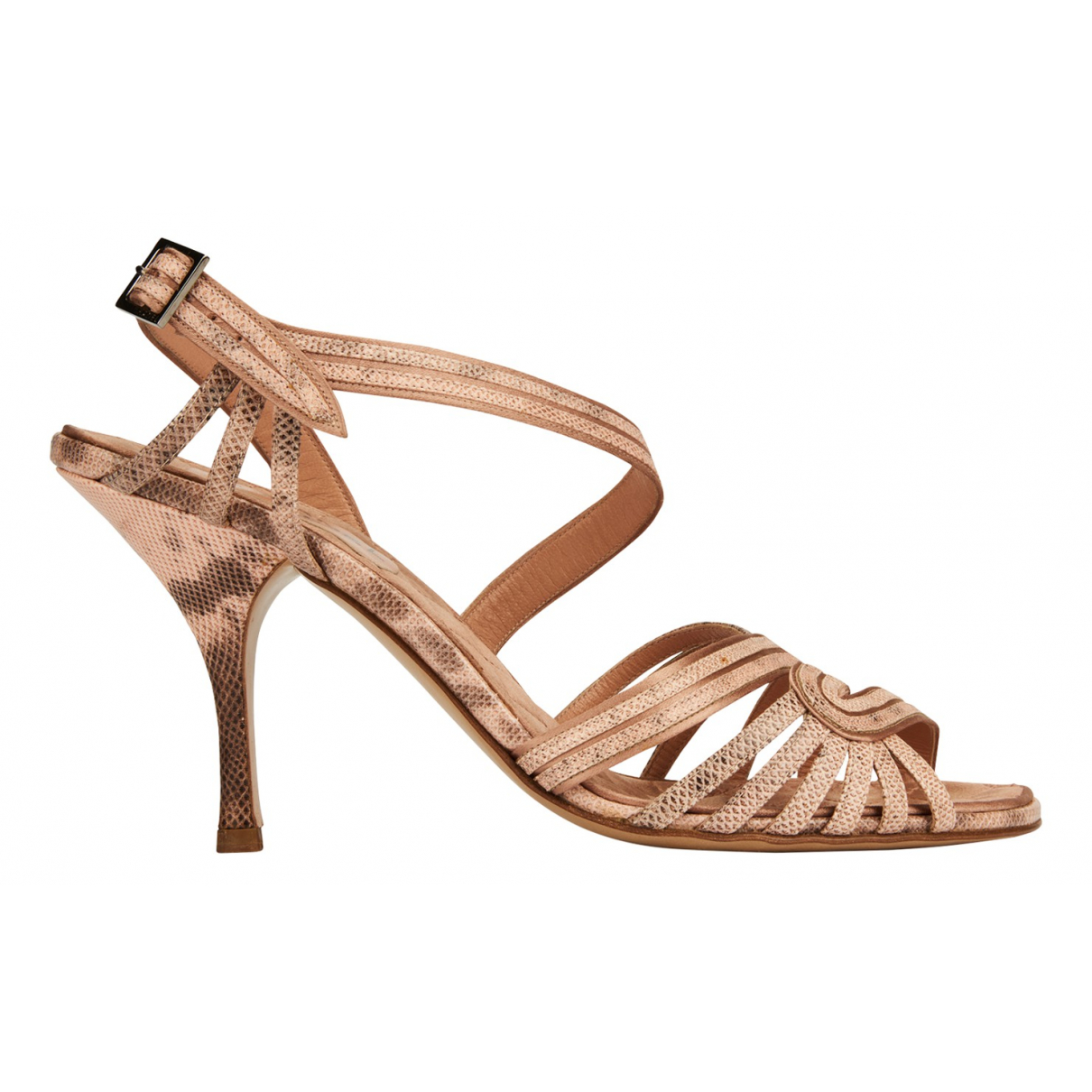 Chanel N Pink Leather Sandals for Women 7.5 UK