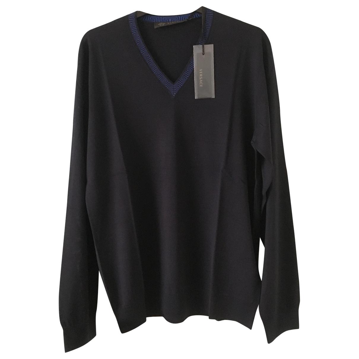 Versace - Pulls.Gilets.Sweats   pour homme en laine - marine