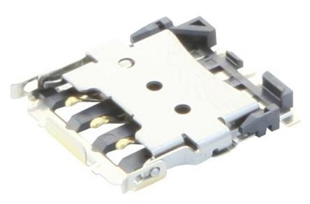 JST 6 Way Flip Cover Smart Card SIM Card Connector With Solder Termination (2500)