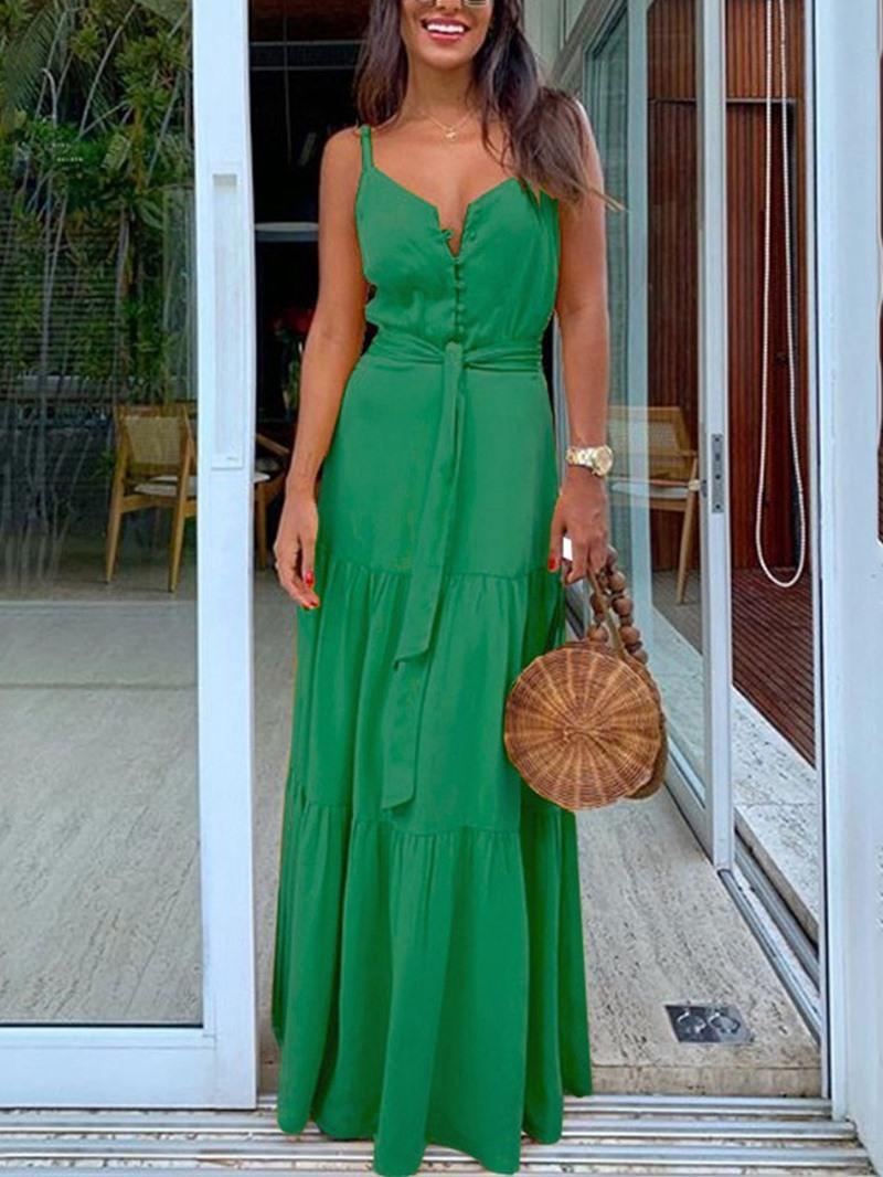 Ericdress Sleeveless Floor-Length Lace-Up Summer Plain Dress