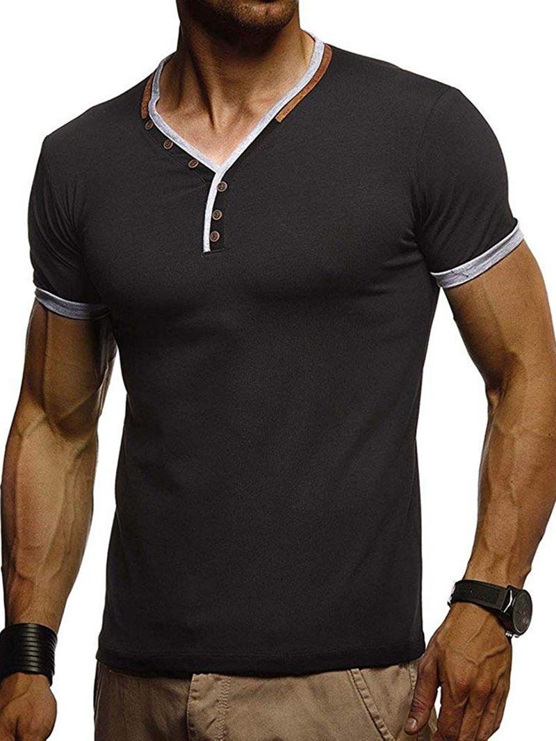 Ericdress Button European Stand Collar Mens Short Sleeve Slim T-shirt
