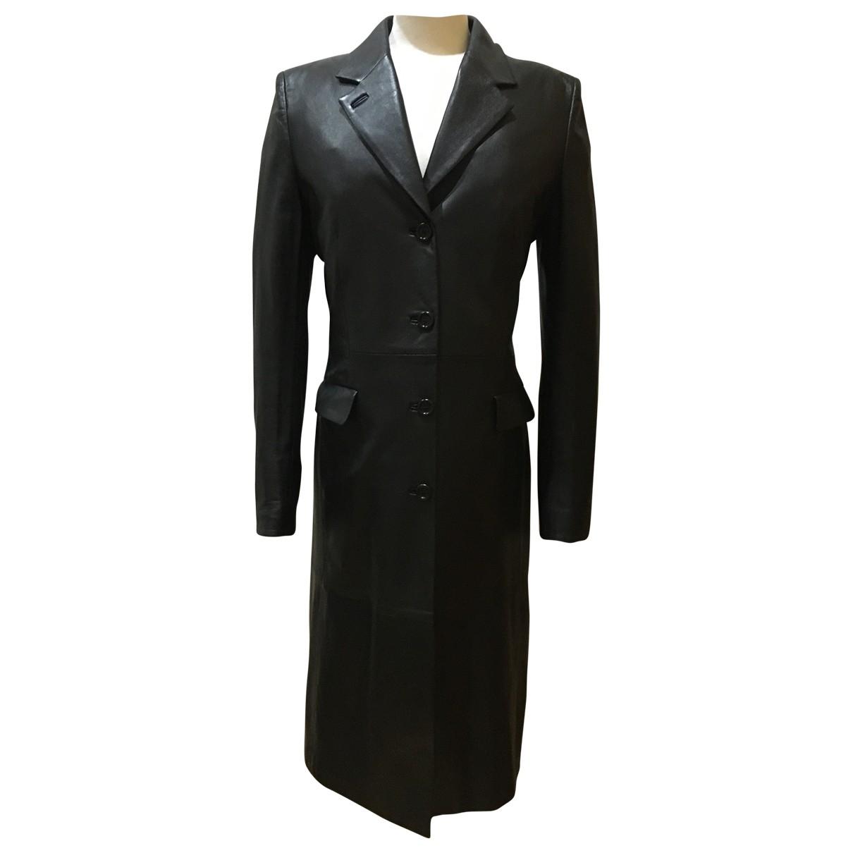 Loewe - Manteau   pour femme en cuir - noir