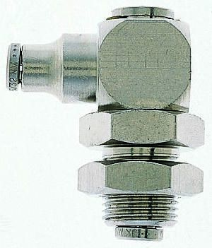 Norgren Pneumatic Bulkhead Threaded-to-Tube Adapter, Push In 6 mm BSPPx6mm