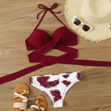 Palm Print Tie Front Bikini Swimsuit