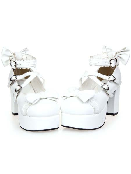 Milanoo White Chunky Square Heels Lolita Shoes Platform Ankle Strap Heart Shape Buckles Bows