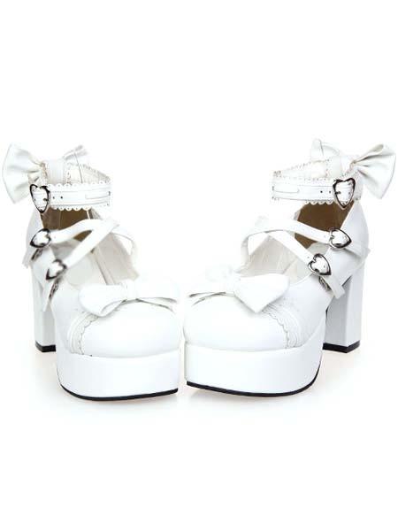 Milanoo Zapatos Lolita Blancos Tacon Cuadrado Tirantes de Tobillo Hebilla Lazos