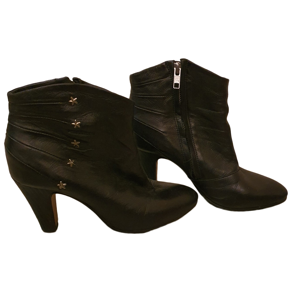 Ash \N Black Leather Ankle boots for Women 36 EU
