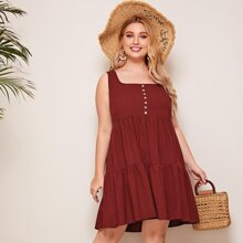 Plus Buttoned Front Smock Dress