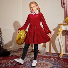Girls Pleated Ruffle Neck Velvet Peplum Top & Leggings Set