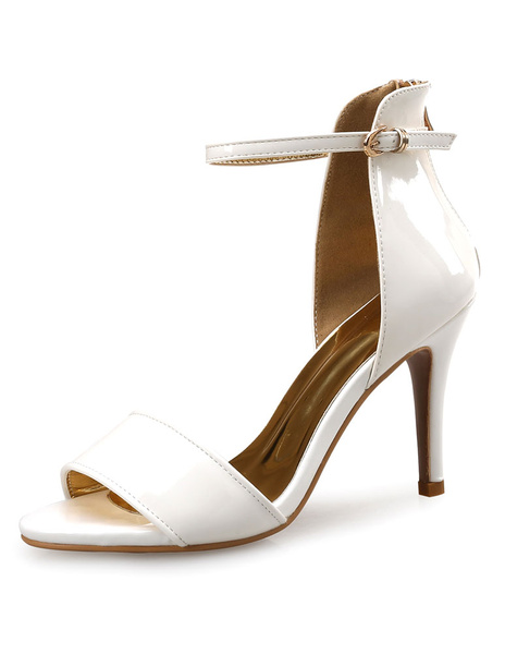 Milanoo Black Dress Sandals High Heel White Ankle Strap Stiletto Heel Sandal Shoes For Women