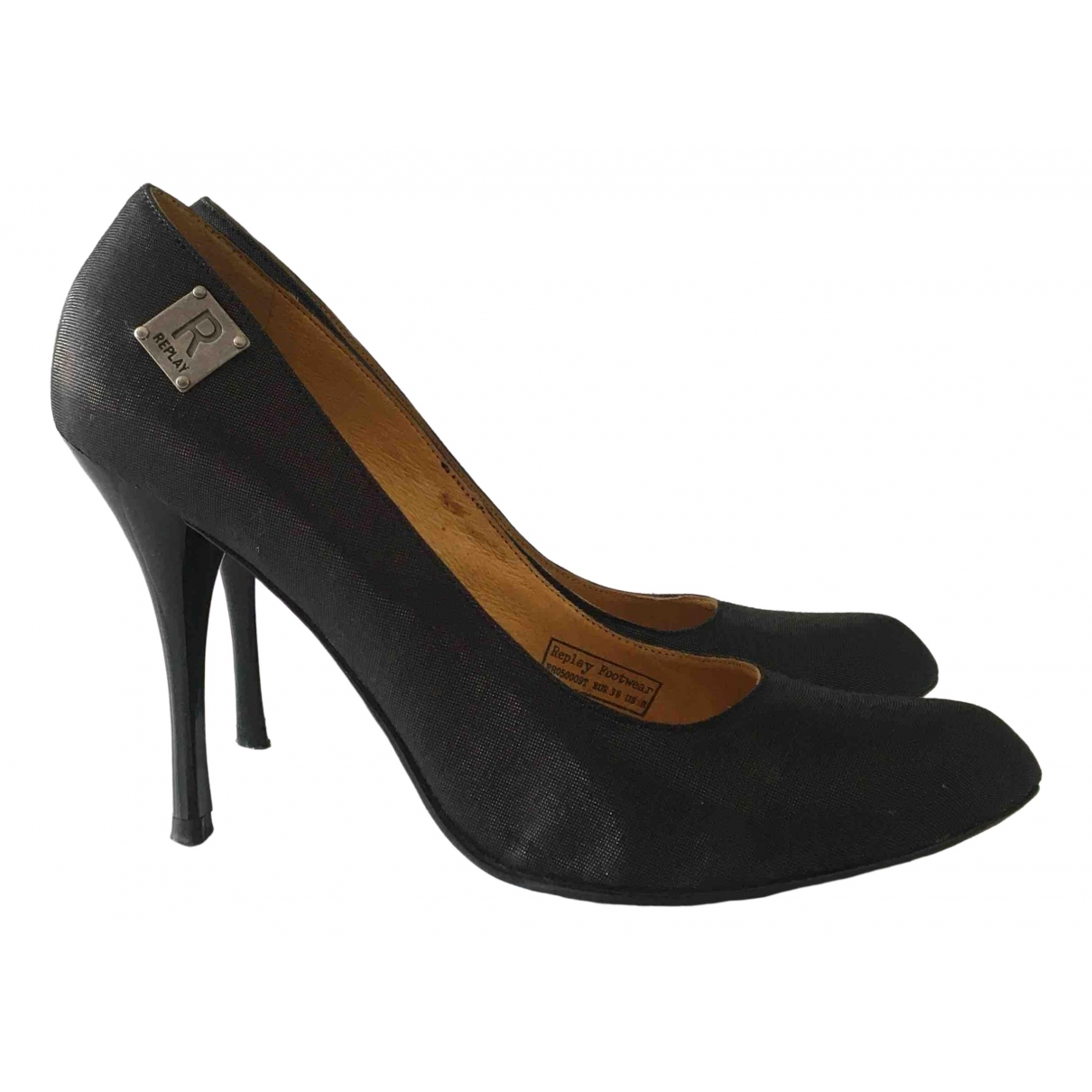 Replay \N Black Cloth Heels for Women 38 IT