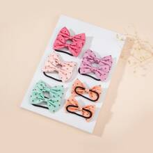 10pcs Toddler Girls Polka Dot Pattern Bow Hair Tie