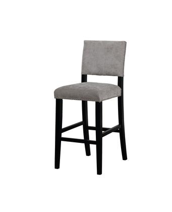 BS042GRY01U Corey Collection Bar Height Stool with Transitional Style  Rubberwood Frame and Velvet Upholstery in Dark Grey