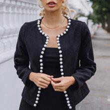 Jacke mit Perlen und offener Vorderseite