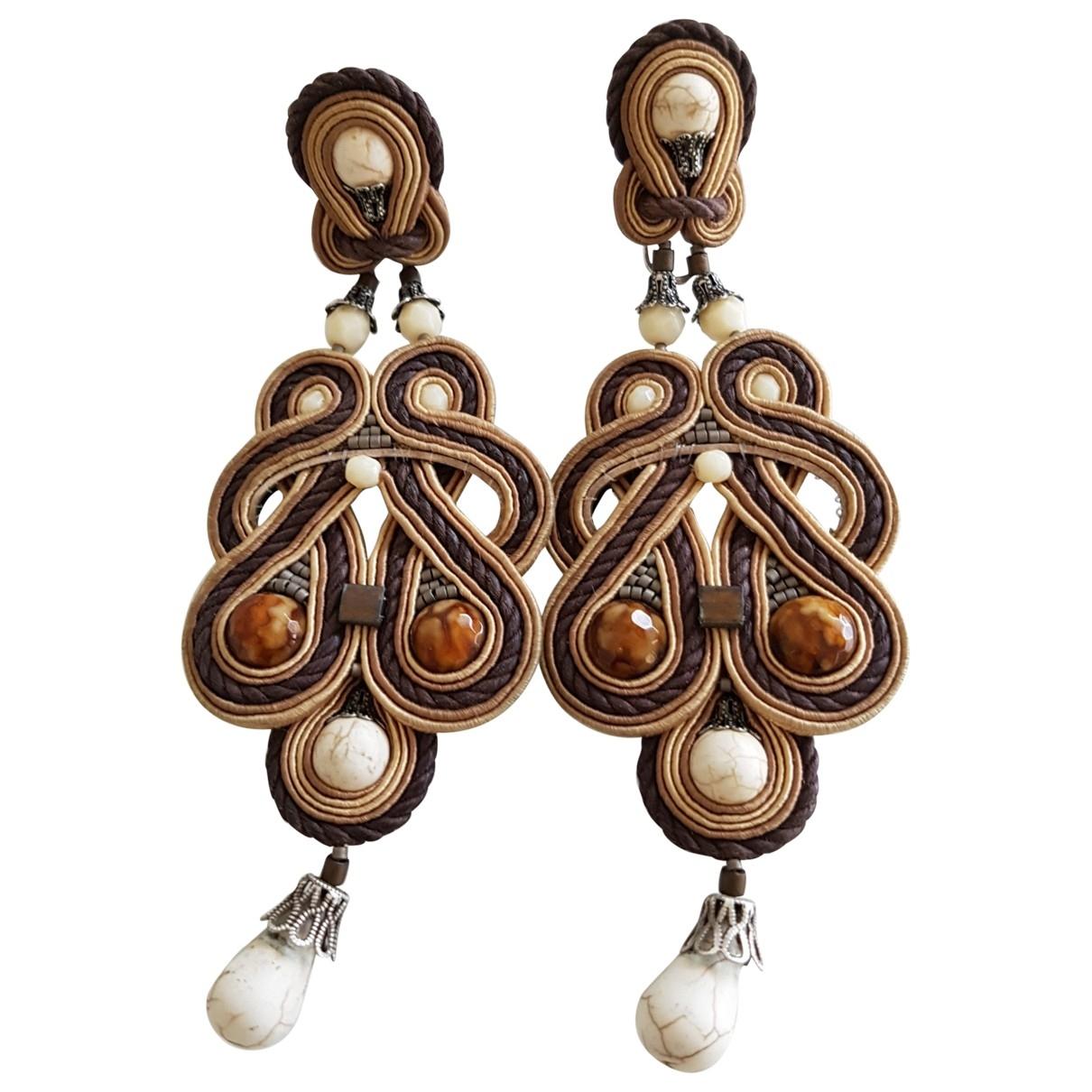 - Boucles doreilles Motifs Ethniques pour femme en cuir - multicolore