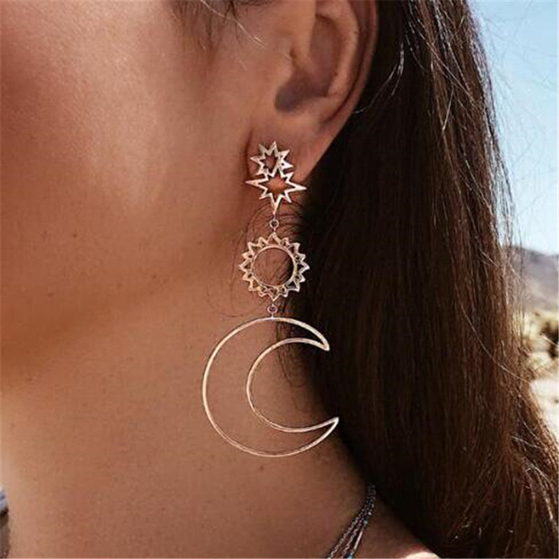 Retro Style Sun Moon Earrings Irregular Long Style Ear Drop Gold Alloy Earrings For Women
