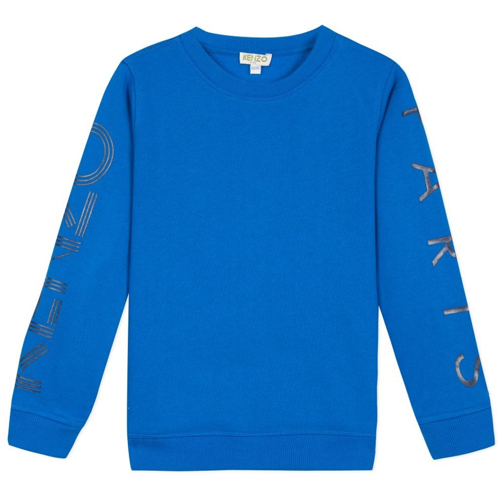 Kenzo Kids Paris Arm Logo Sweatshirt Blue Colour: BLUE, Size: 4 YEARS