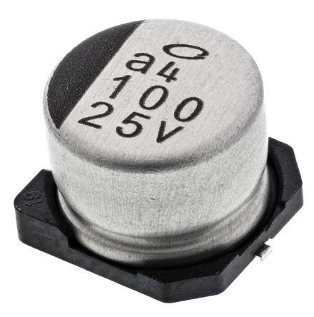 Nichicon 100μF Electrolytic Capacitor 25V dc, Surface Mount - UUR1E101MCL1GS (10)