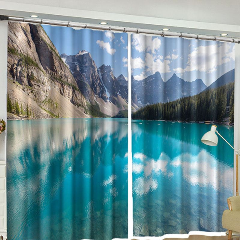 3D Lake Scenery Window Curtains Online 2 Panel Set 84 Inches Wide and 84 Inches Physically Blocks Light Nicely Prevents UV Ray Machine Wash Accepted E