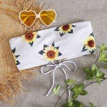 Bikini Bandeau mit Sonnenblumen Muster