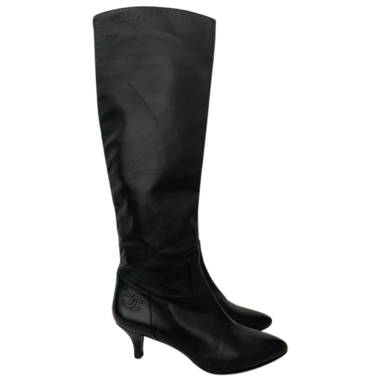 Chanel N Black Leather Boots for Women 38.5 EU