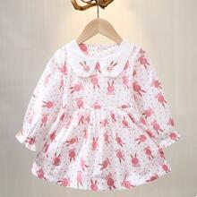 Toddler Girls Cartoon Rabbit Polka Dot Print Babydoll Dress