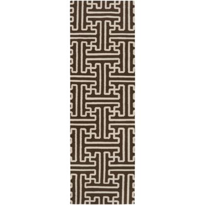 Smithsonian Archive ACH1710-268 26 x 8 Rectangular 100% Wool Hand Woven Reversible Area Rug with No Pile  No Shedding  and Hand Made in India in