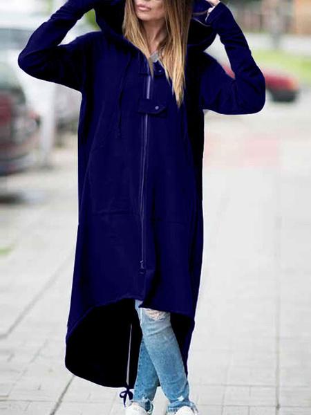 Milanoo Hoodie For Woman Blue Long Sleeves Polyester High Low Irregular Hooded Sweatshirt