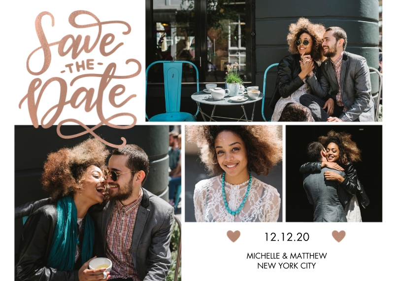 Save the Date 5x7 Cards, Premium Cardstock 120lb with Rounded Corners, Card & Stationery -Save the Date Tiny Hearts by Tumbalina