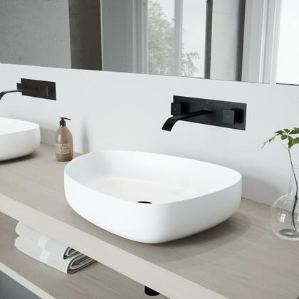 VGT999 Peony Matte Stone Vessel Bathroom Sink Set With Titus Wall Mount Faucet In Matte